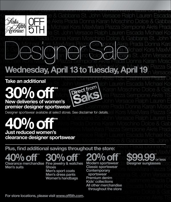 saks fifth avenue discount