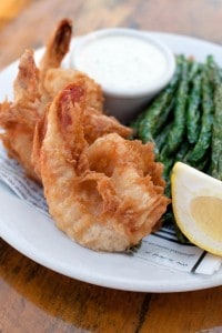 Vodka Shrimp served green bean frites and lemon aioli