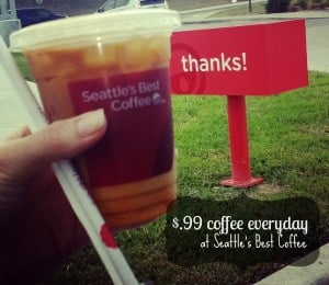 Seattle's Best Coffee offers $.99 coffee all day every day! #frugal #savings #coffee #deals #dallas